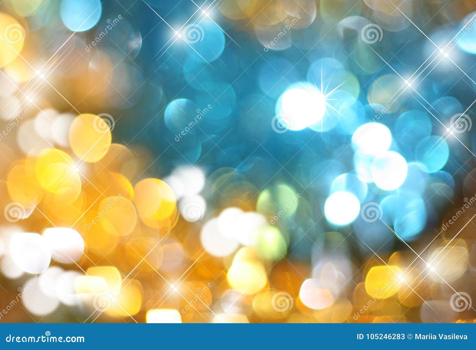 Het achtergrondgoud met blauwe gloeiende lovertjes, het blauw van Zolotoy en het fonkelen schitteren, vage feestelijke achtergron