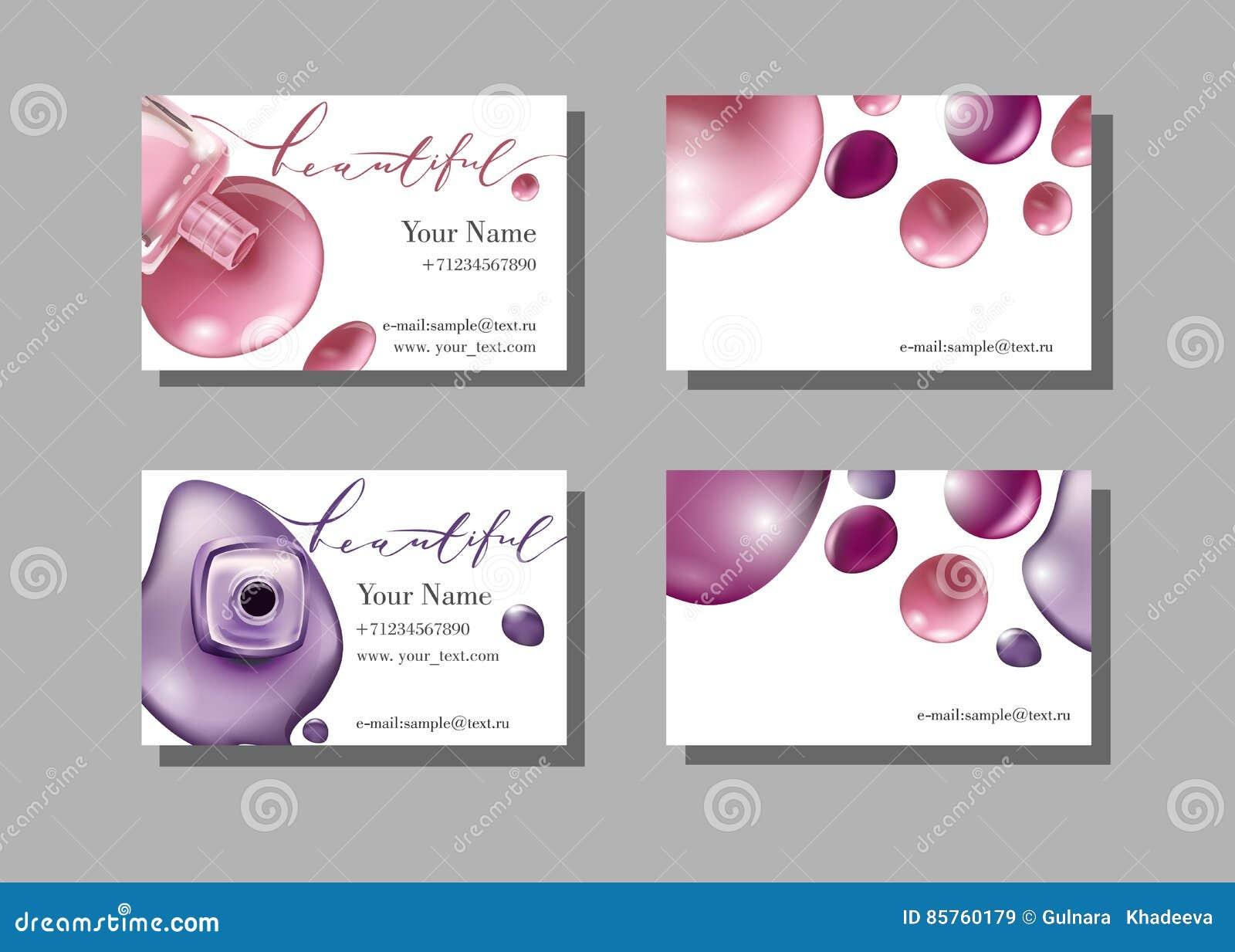 Het adreskaartje van de make-upkunstenaar Vectormalplaatje met het patroon van make-uppunten - nagellak Vector