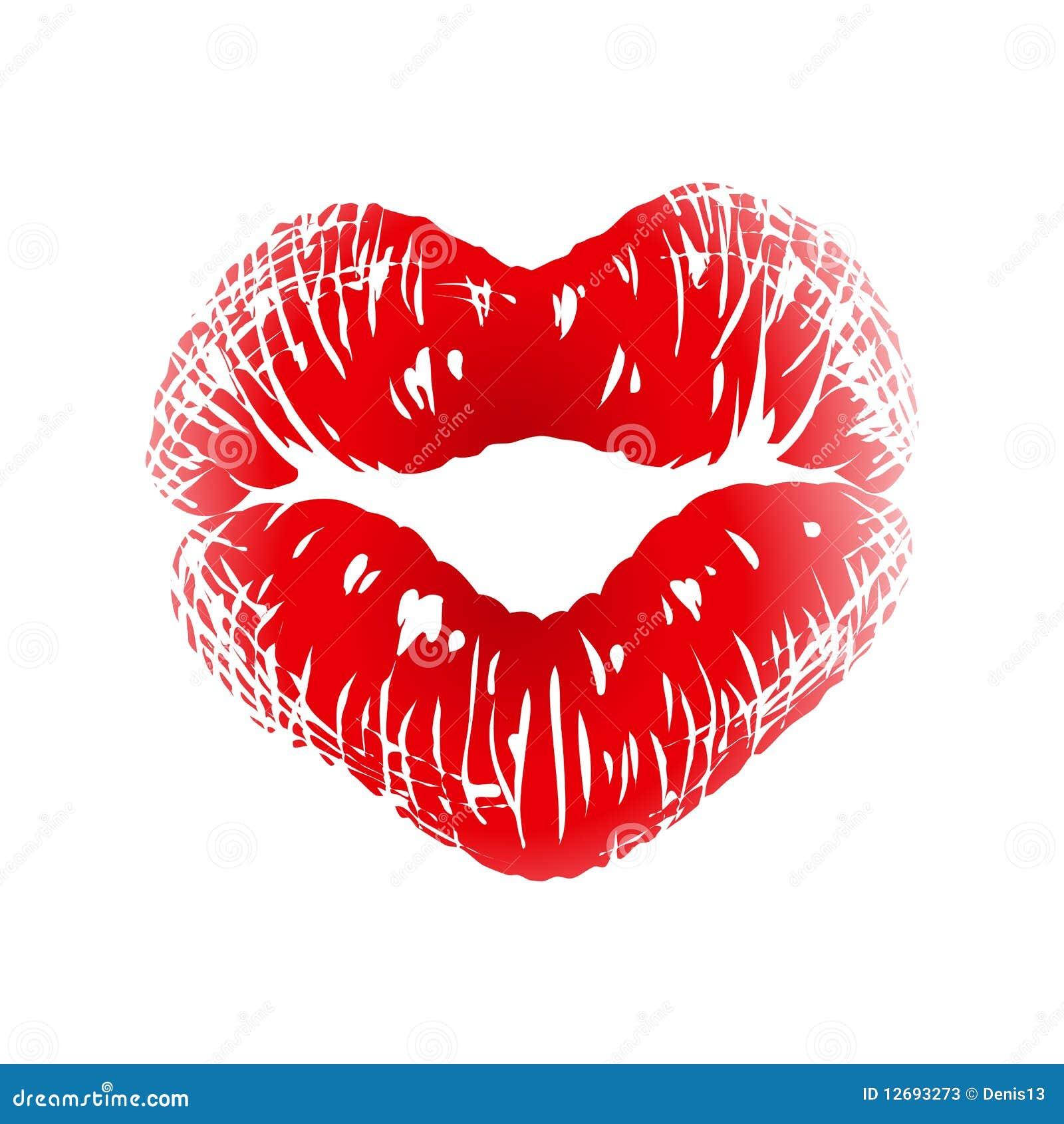 het af drukken de kus in de vorm hart vector