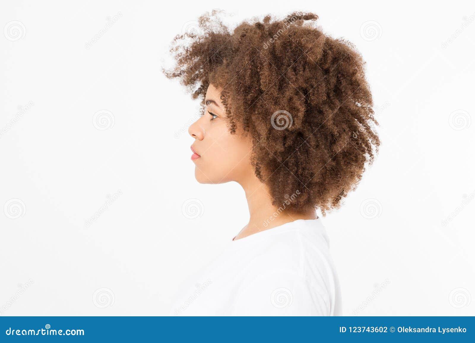 Het Afrikaanse Amerikaanse die profiel van het vrouwengezicht op witte achtergrond wordt geïsoleerd De ruimte van het exemplaar K