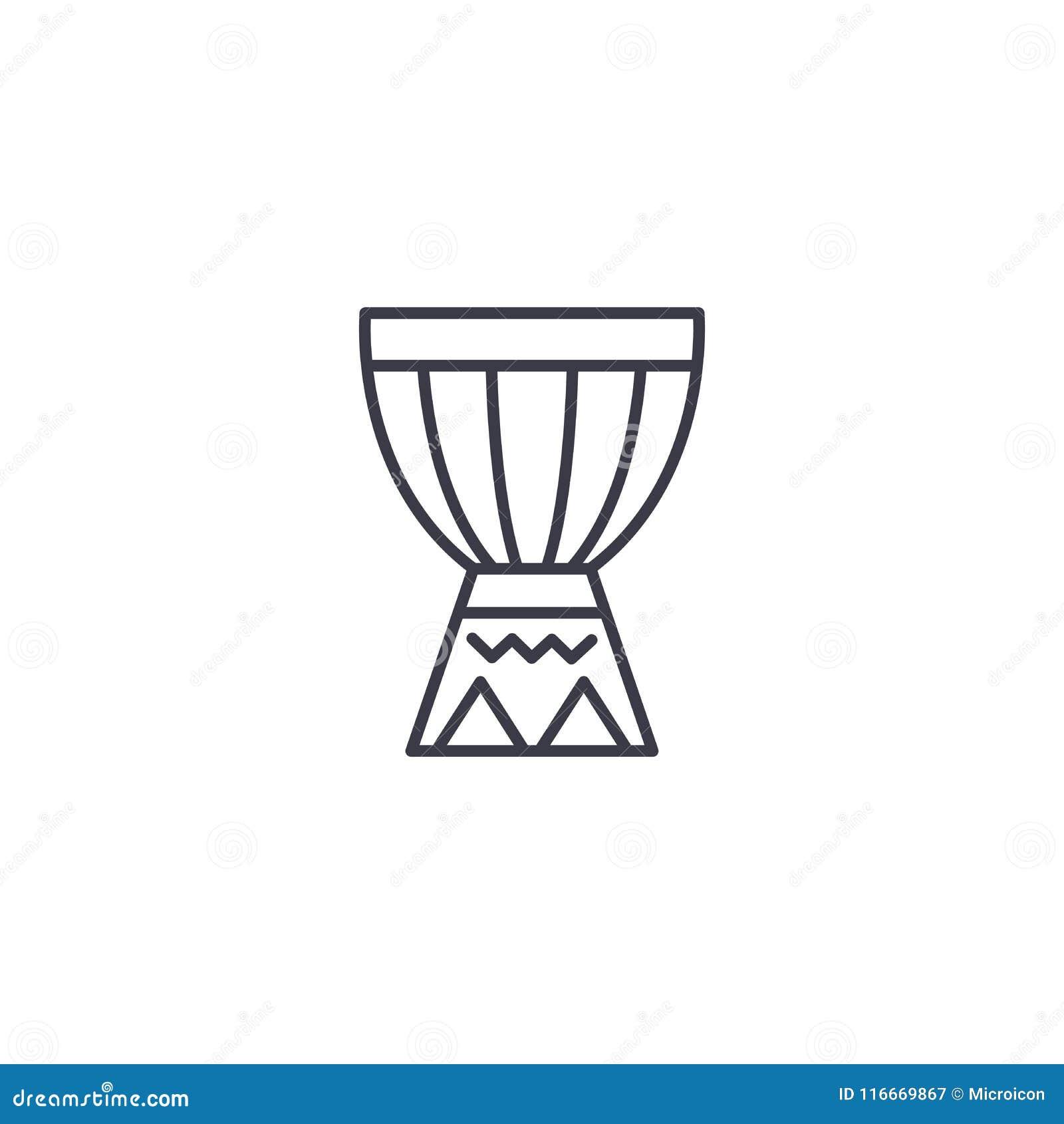 Het Afrikaanse concept van het trommel lineaire pictogram Het Afrikaanse vectorteken van de trommellijn, symbool, illustratie