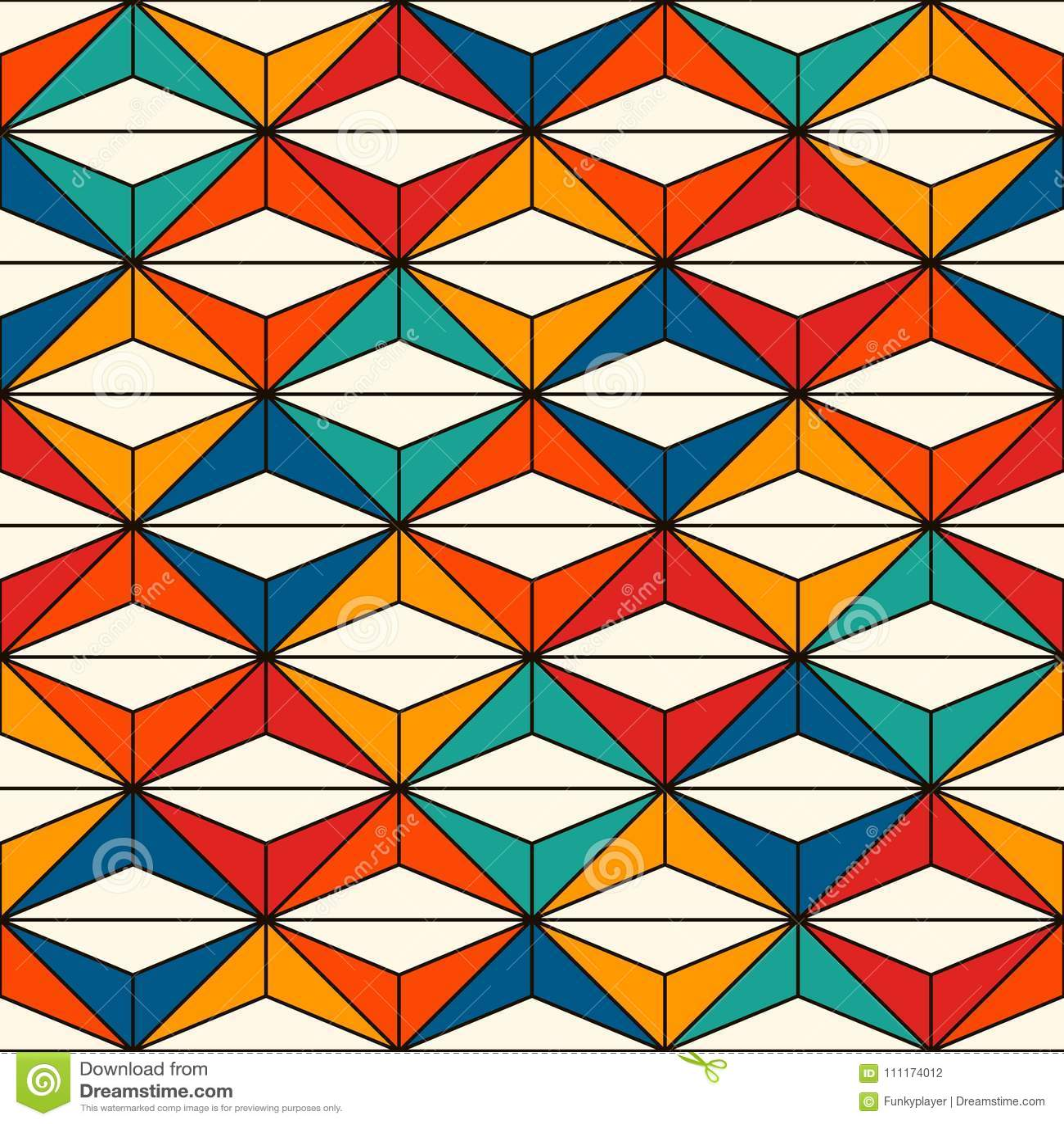 Het Afrikaanse patroon van de stijl naadloze oppervlakte met abstracte cijfers Heldere etnische druk Geometrische sierachtergrond