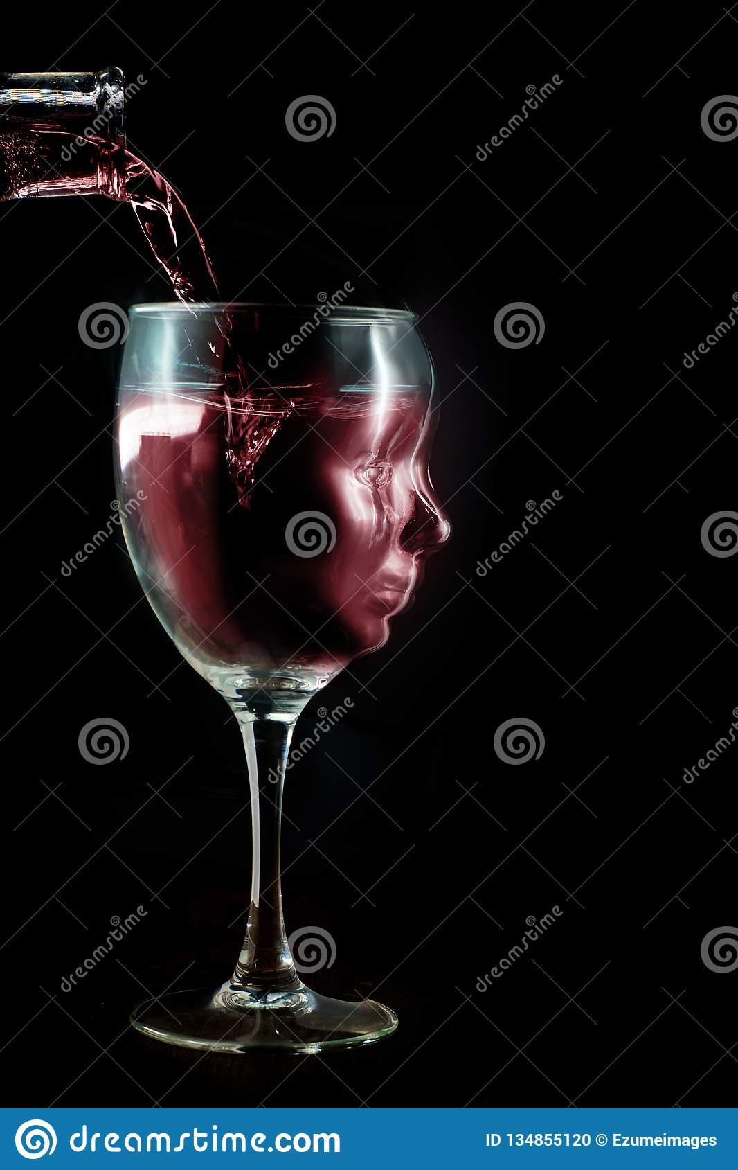 Het alcoholische Concept van de Wijnverslaving