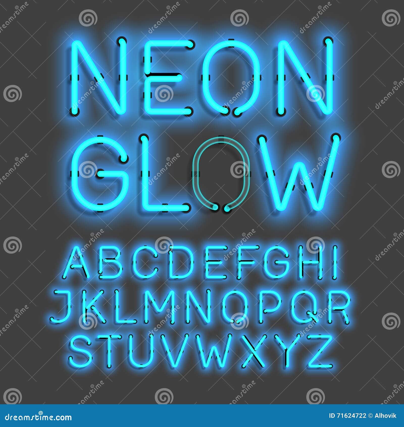 Het alfabet van de neongloed