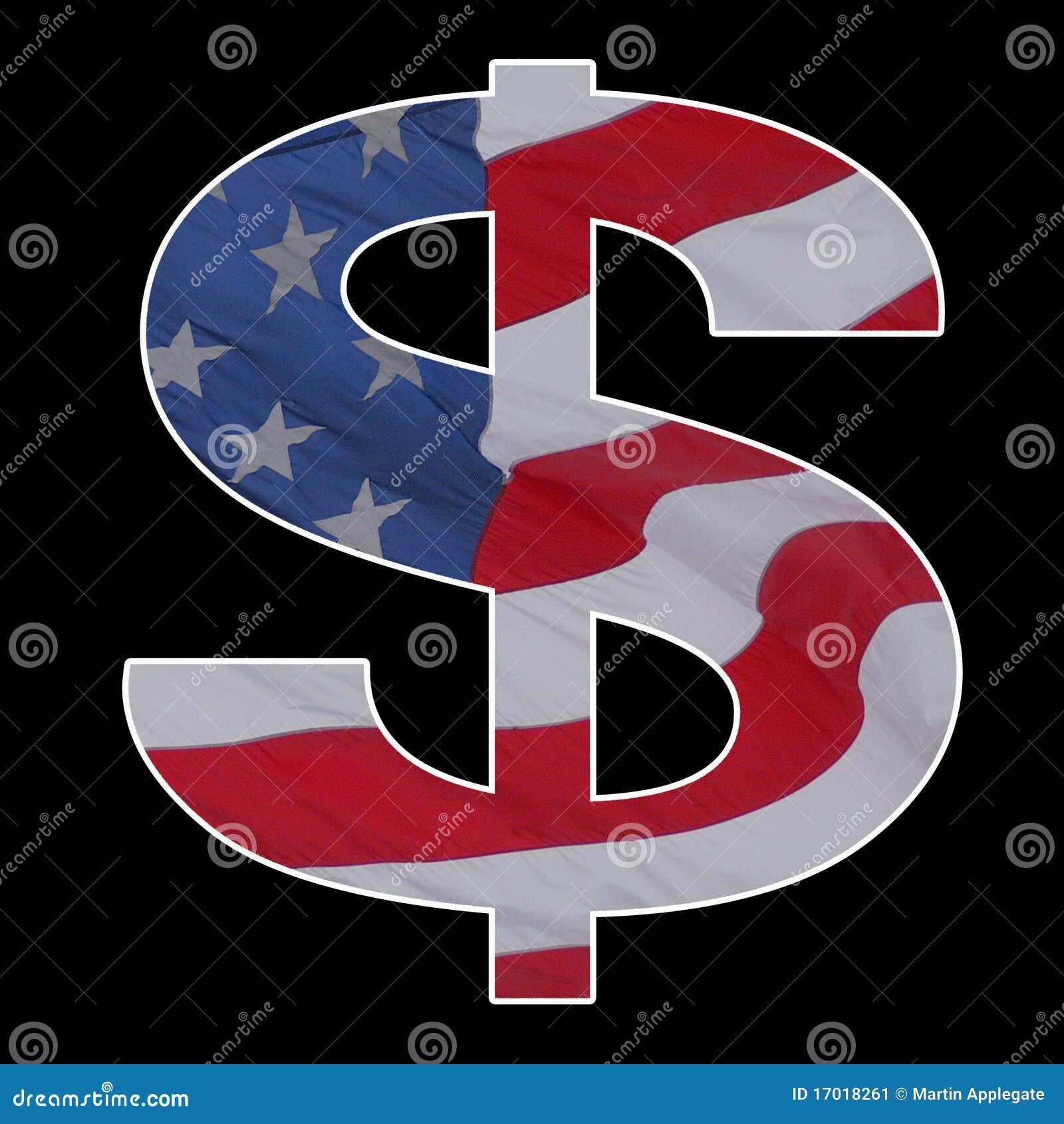 Het Amerikaanse teken van de dollarvlag