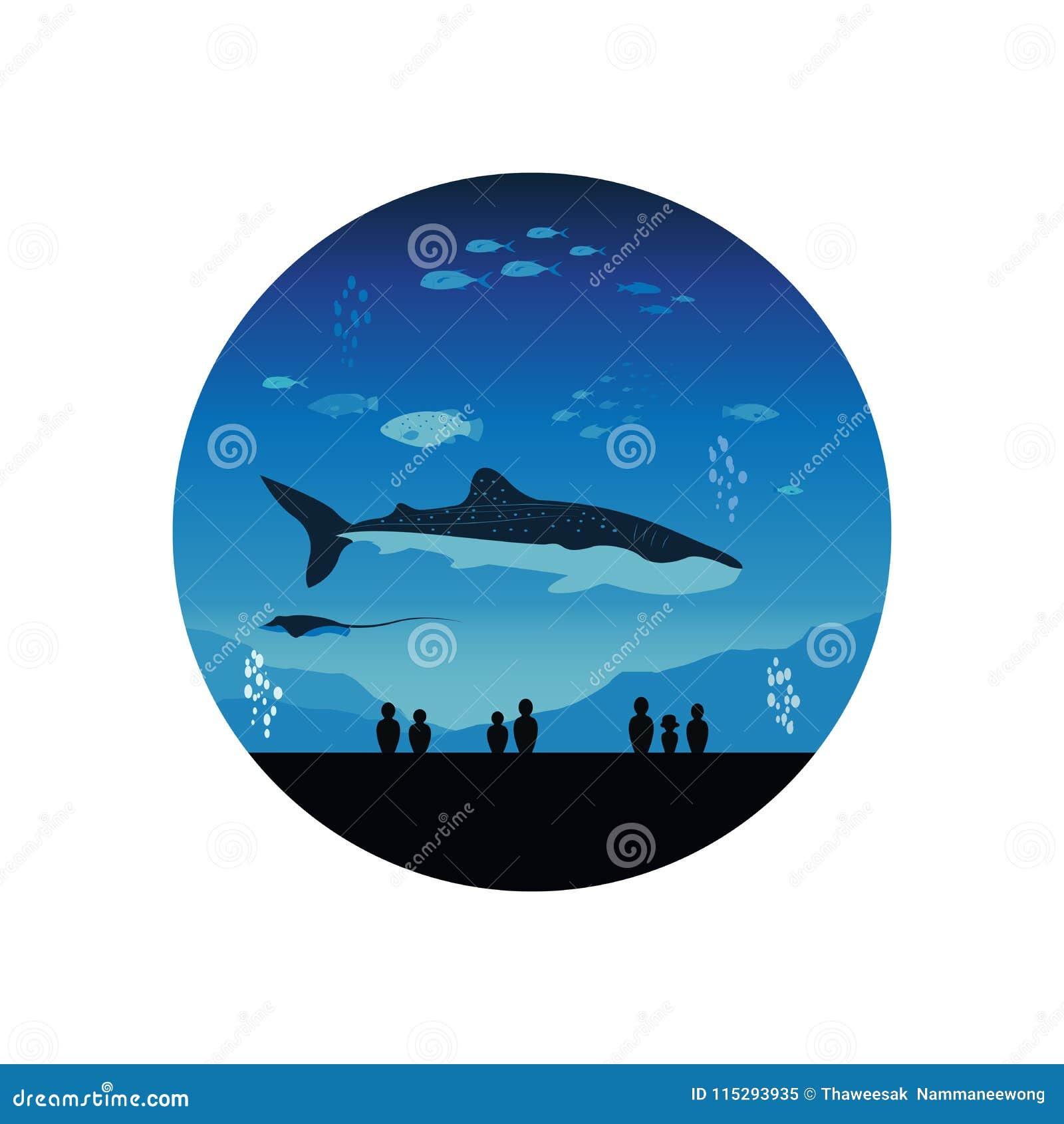 Het Aquarium van Japan en Onderwatermarine life vector