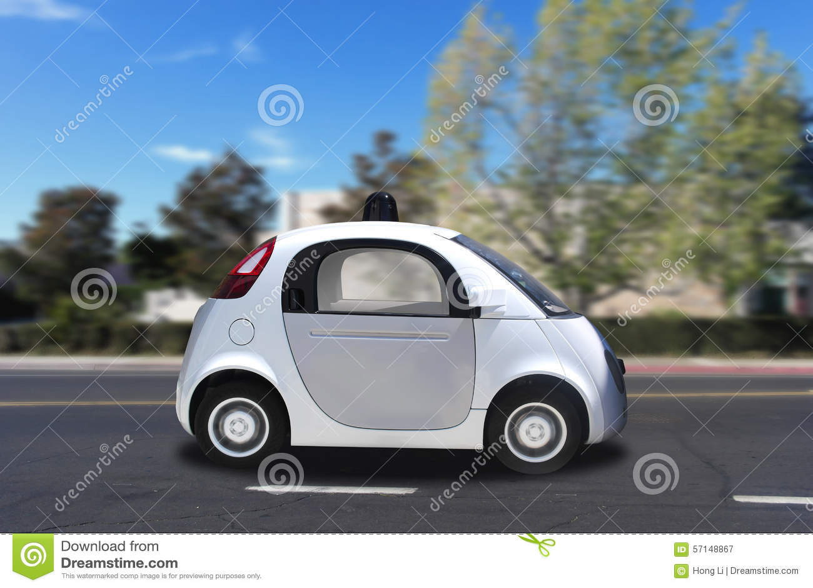Het autonome zelf-drijft driverless voertuig drijven op de weg