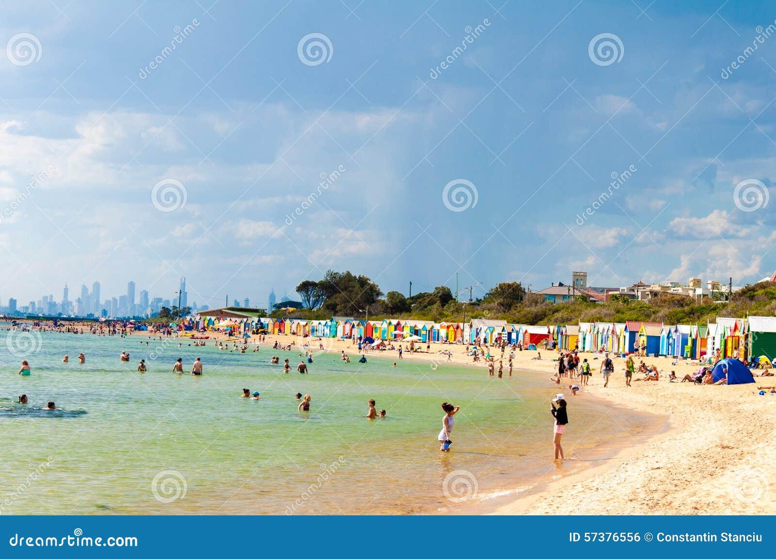 Het baden van dozen in Brighton Beach, Australië