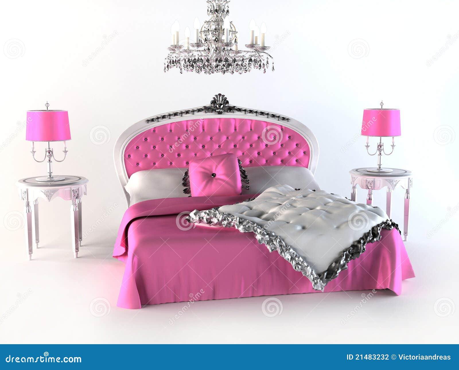 Het Bed Van De Luxe. Roze Slaapkamer Stock Fotografie - Beeld ...