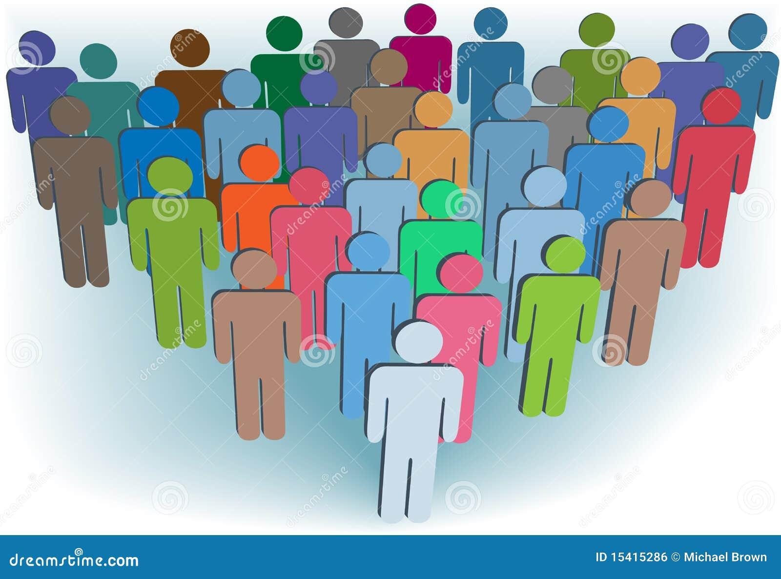 Het bedrijf of de bevolkings de kleuren van symboolmensen van de groep