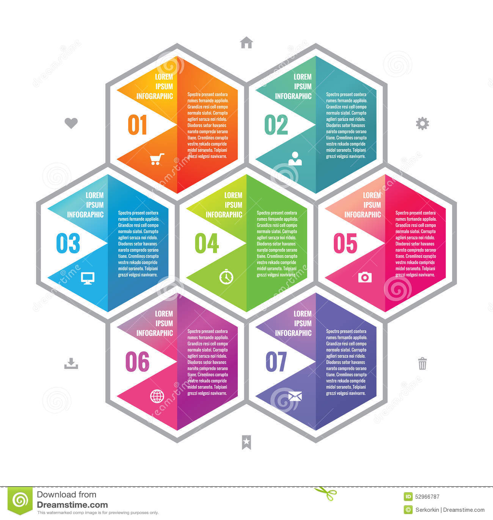 Het bedrijfs infographic concept kleurde hexagon blokken in vlak stijlontwerp Stappen of genummerde opties infographic vectorblok