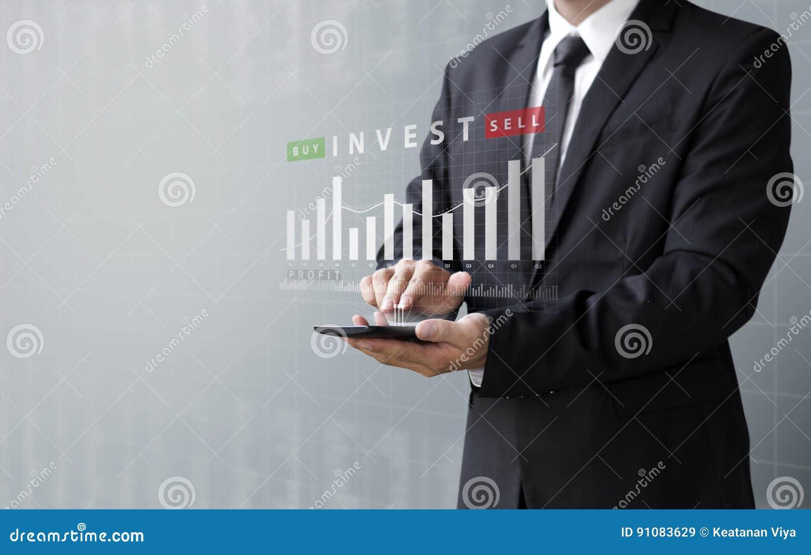 Het bedrijfsconcept, investeert online koopt of verkoopt activa