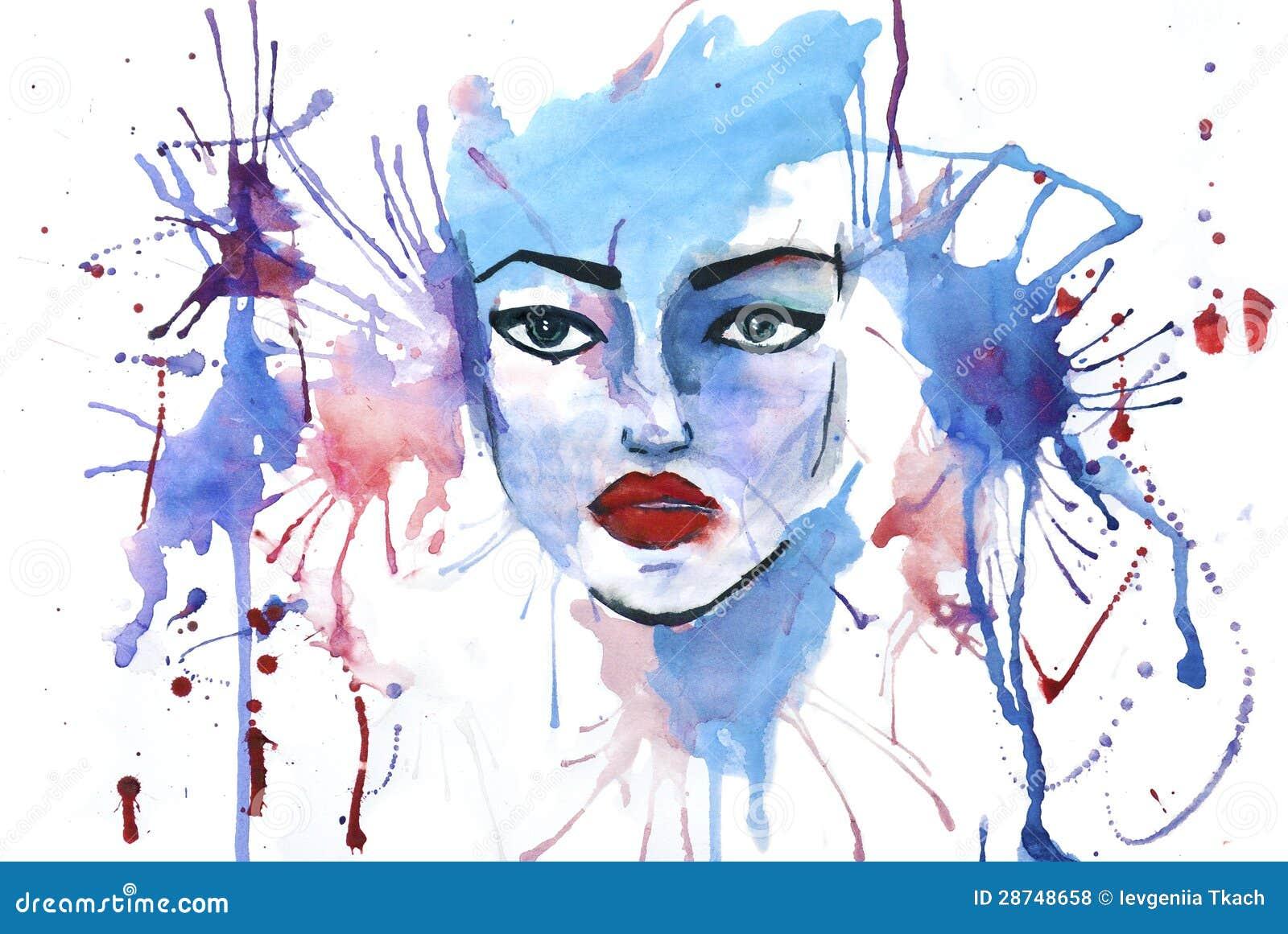 Het beeld van de waterverf met vrouwengezicht op het stock illustratie afbeelding 28748658 - Beeld het meisje van ...