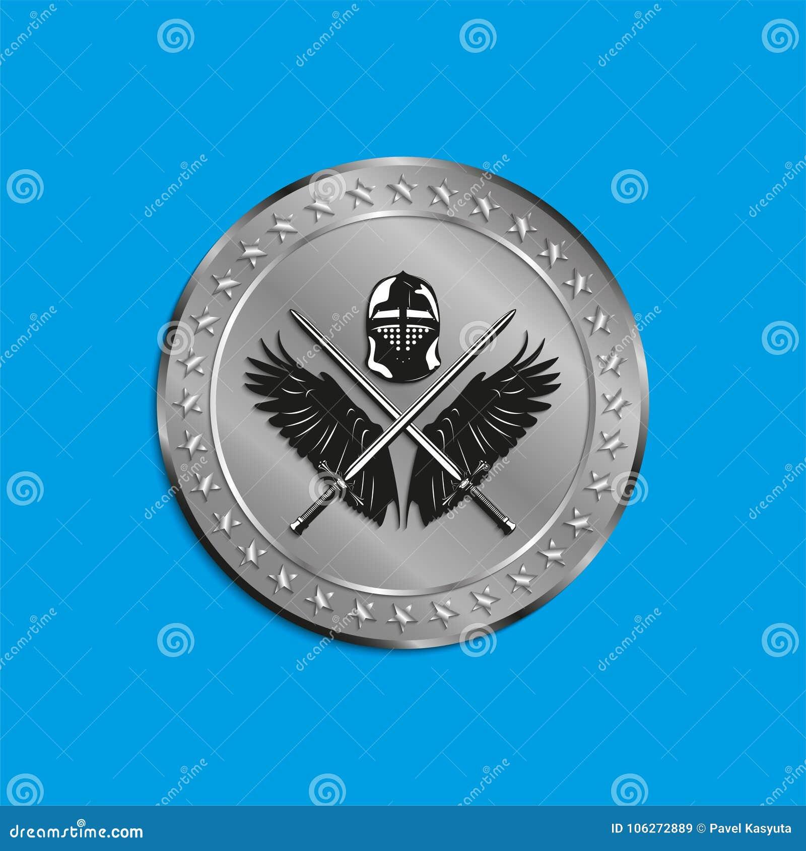 Het beeld van medailles met vleugels van een vogel, twee kruiste zwaarden en slaghelm Vector illustratie