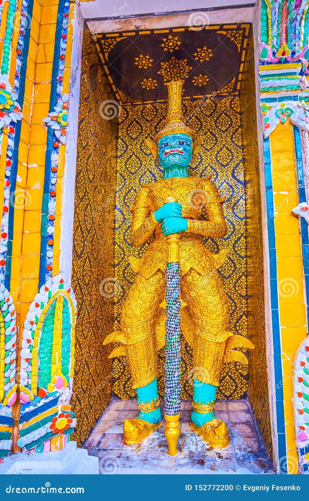 Het beeldhouwwerk van Phaya Khon in Wat Pho-tempel in Bangkok, Thailand