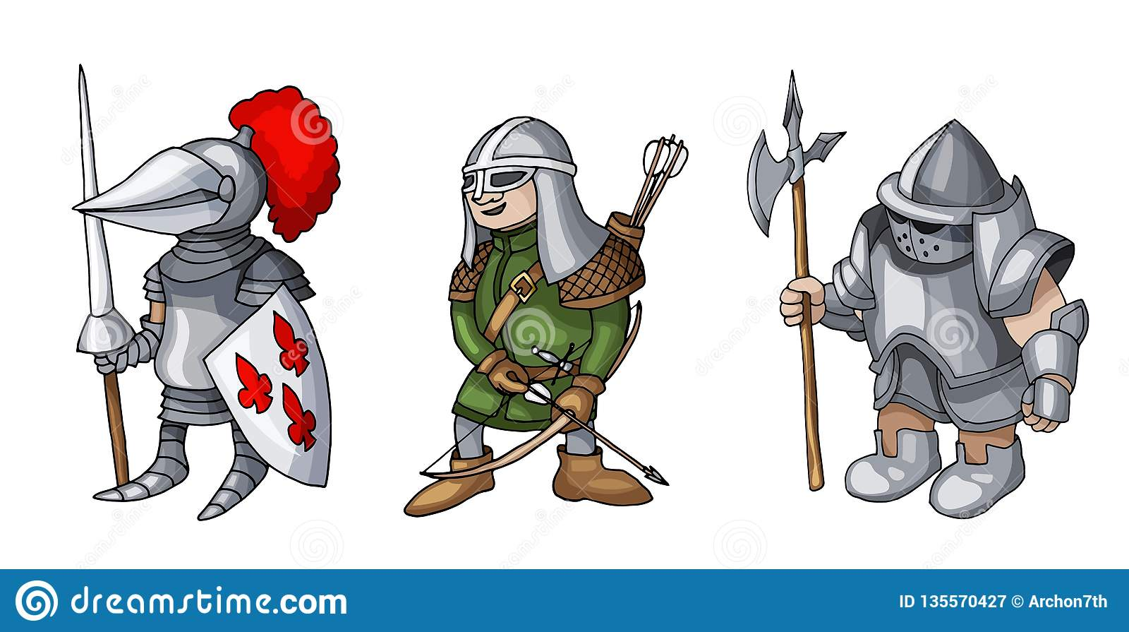Het beeldverhaal kleurde drie middeleeuwse ridders die voor Ridder Tournament prepering