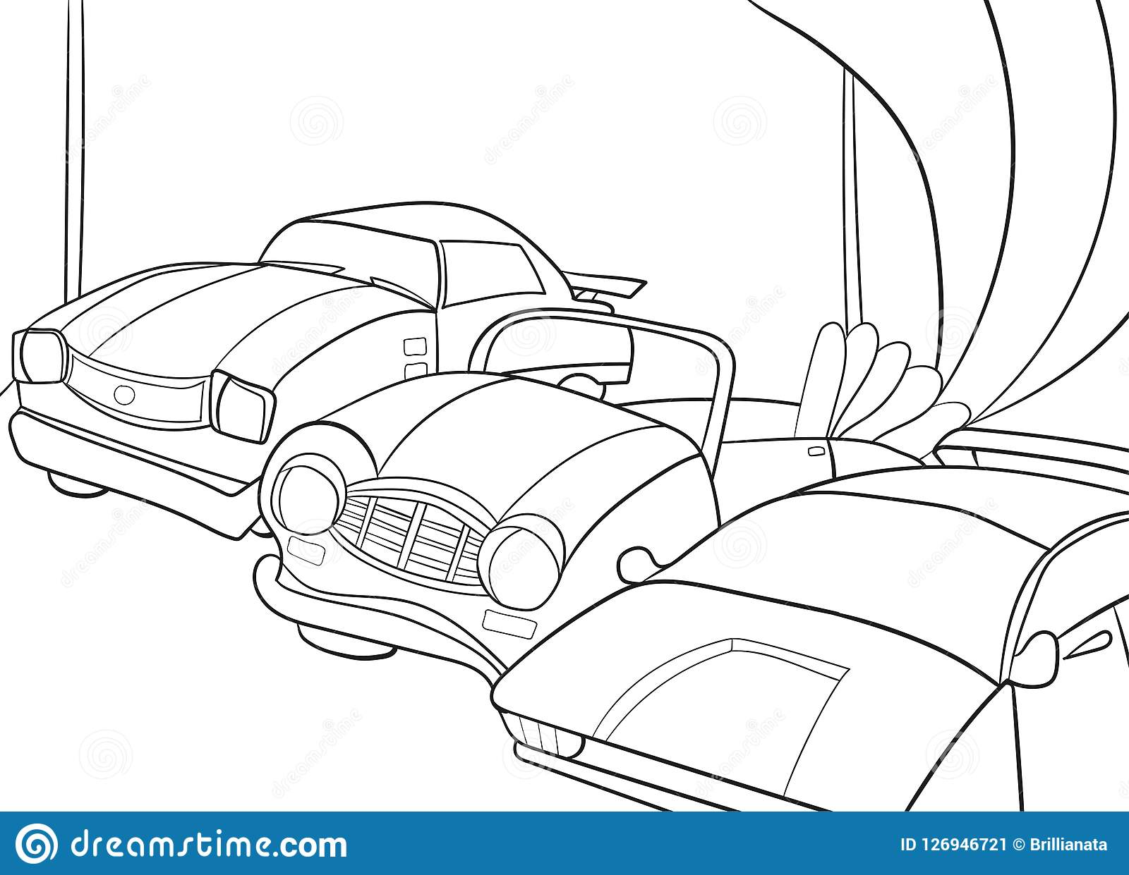 Het beeldverhaal kleurend boek van kinderen voor jongens Vectorillustratie - garage met auto s