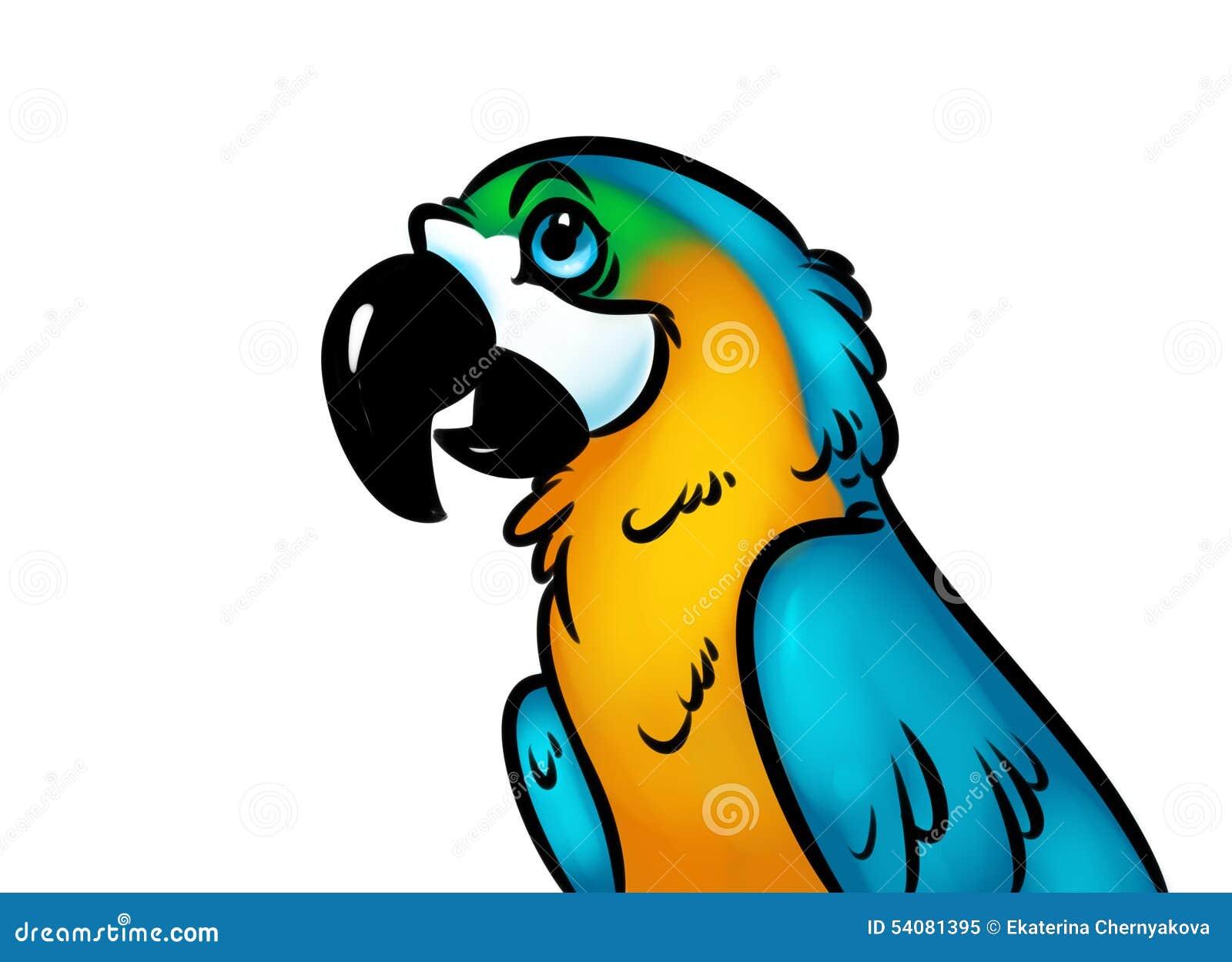 Het beeldverhaalillustratie van de vogelpapegaai