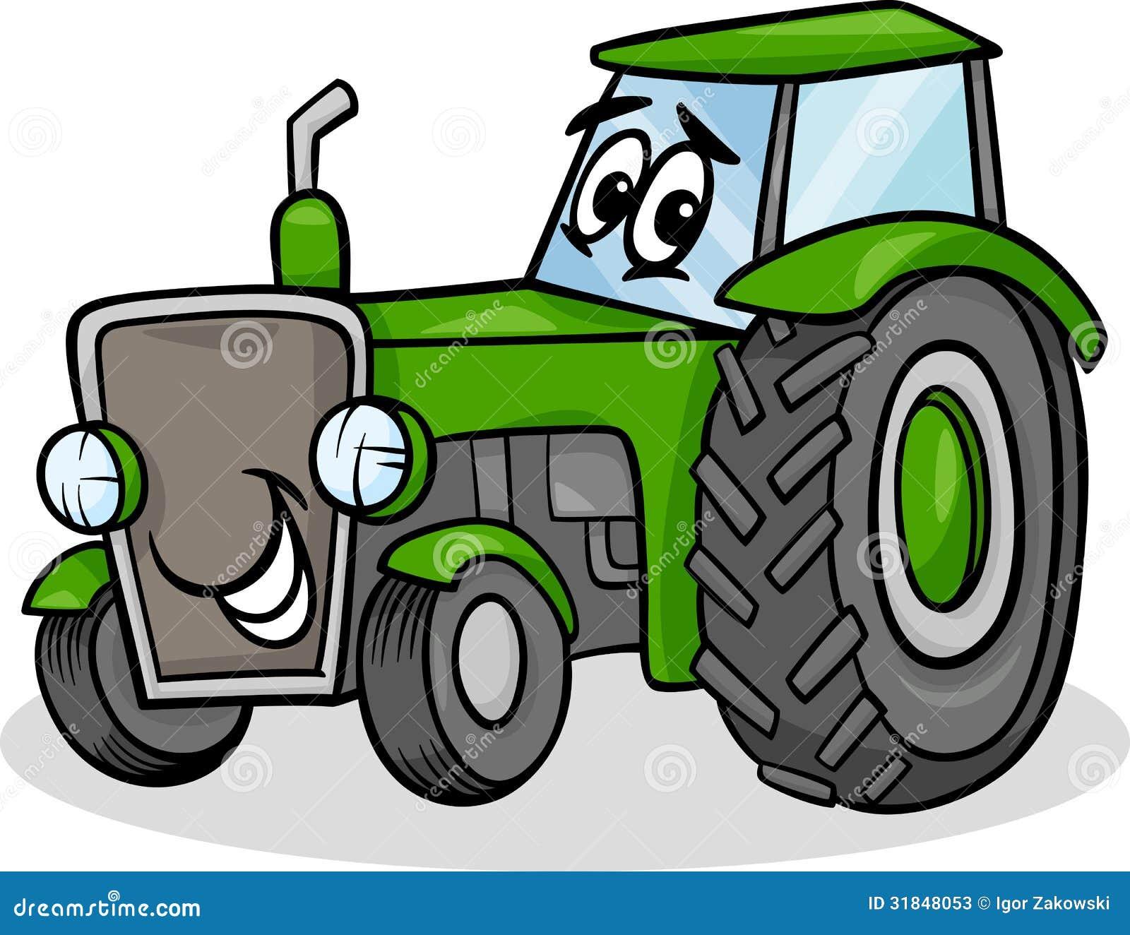 Het beeldverhaalillustratie van het tractorkarakter