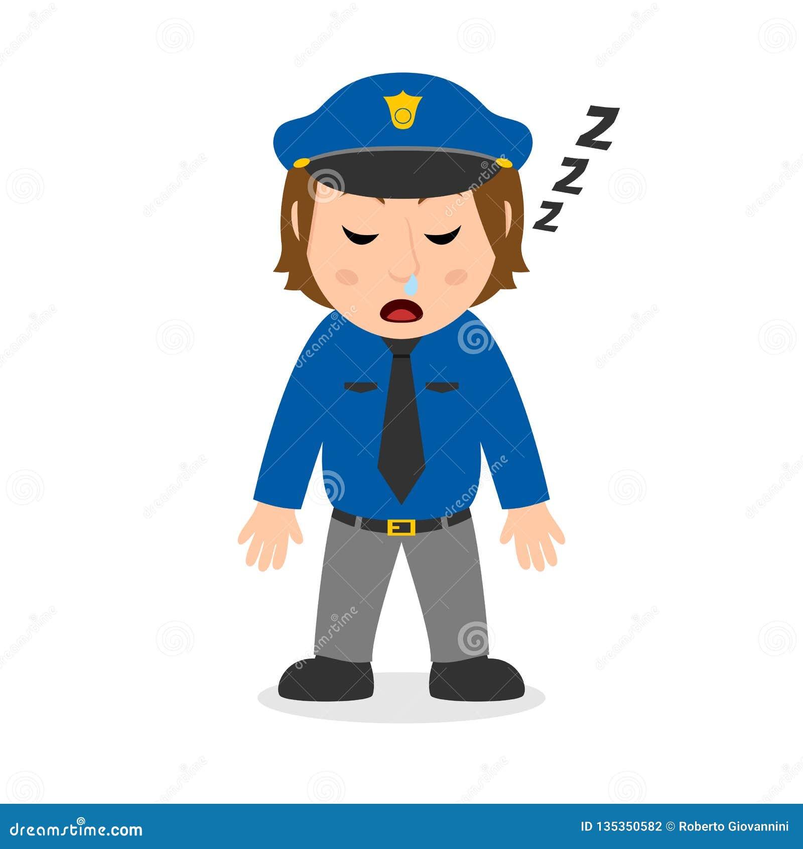 Het Beeldverhaalkarakter van het slaappolitieagente