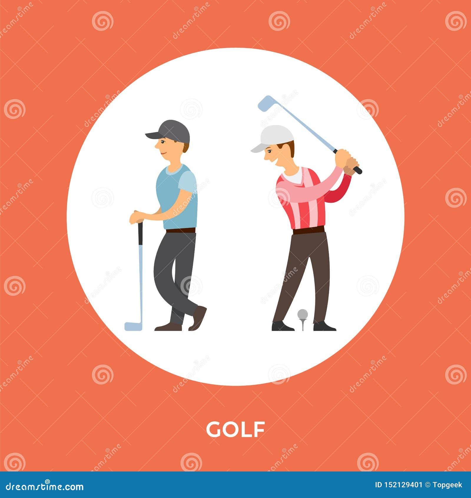 Het Beeldverhaalkarakters van golfspelers, T-stukstok Vector