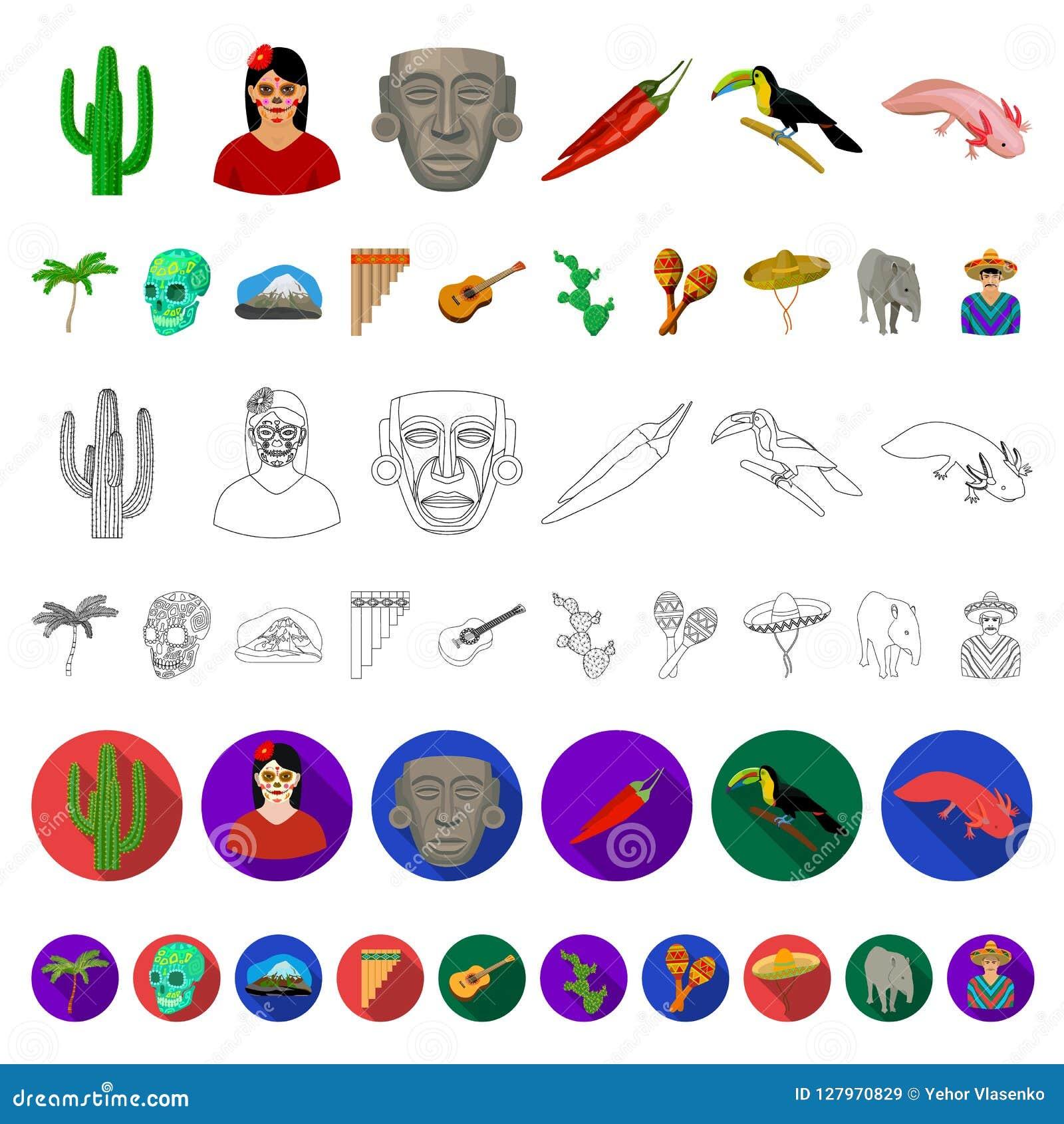 Het beeldverhaalpictogrammen van Mexico van het land in vastgestelde inzameling voor ontwerp Van de het symboolvoorraad van Mexic