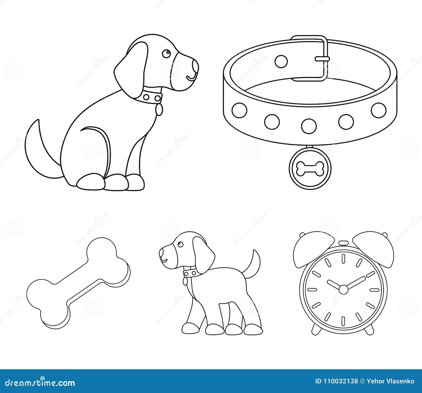 Het been, kraag, zit, voedsel Pictogrammen van de hond de vastgestelde inzameling in van de het symboolvoorraad van de overzichts