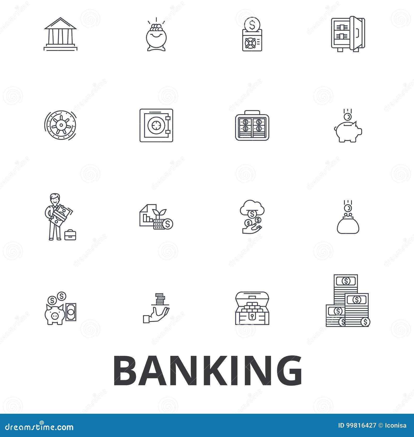 Het beleggen, ank bouwend, financiën, geld, bankier, spaarvarken, zaken, de pictogrammen van de creditcardlijn Editableslagen vla