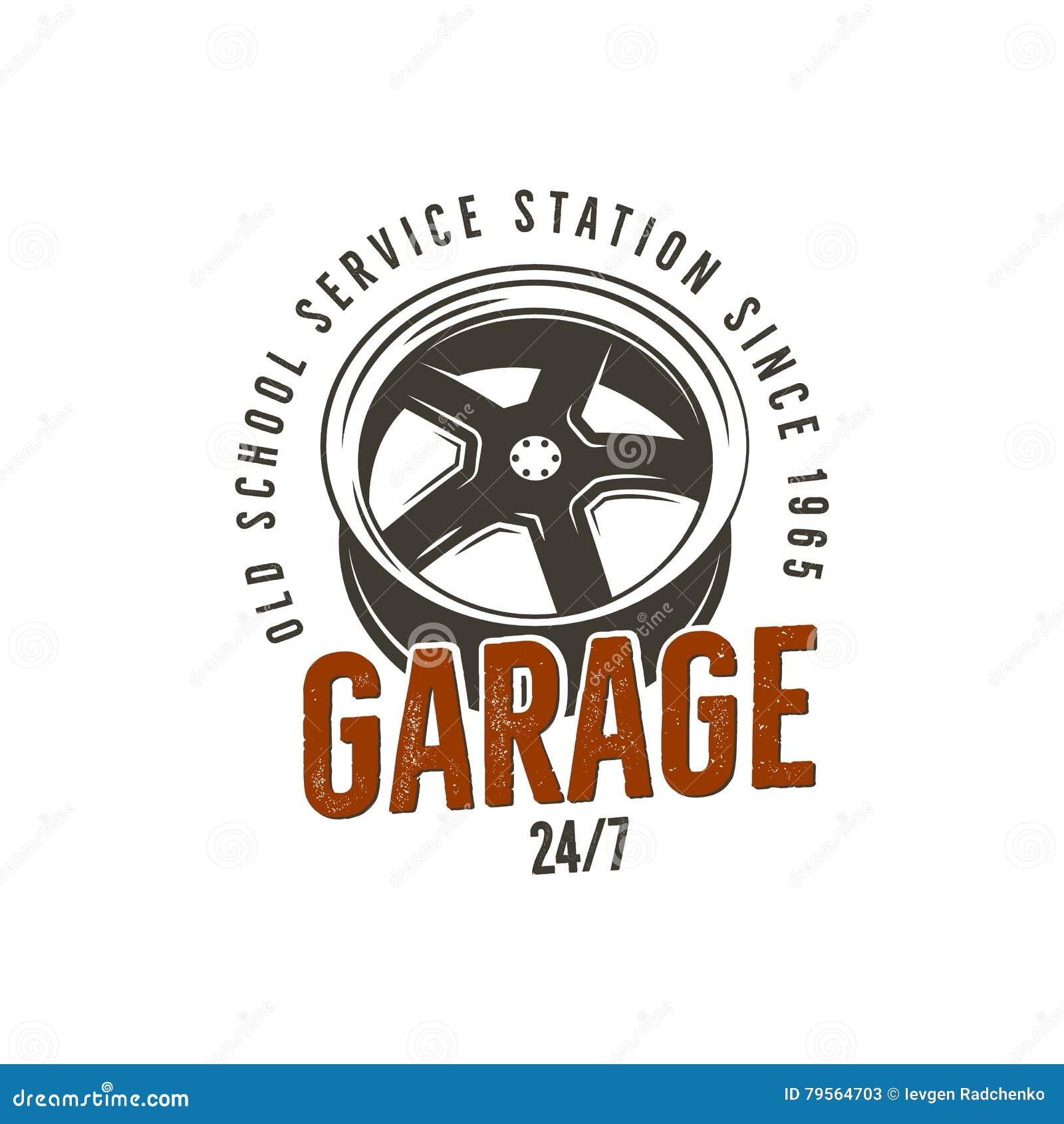 Het benzinestationetiket van de garage oud school De uitstekende grafiek van het T-stukontwerp, de volledige autodruk van de repa