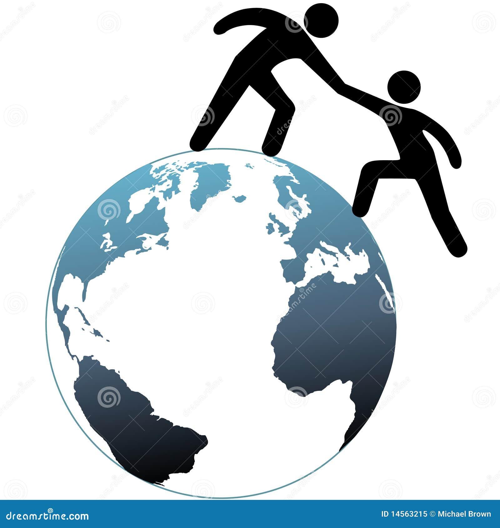 Het bereik van de helper helpt uit vriend op bovenkant van wereld vector illustratie - De thuisbasis van de wereld chesterfield ...