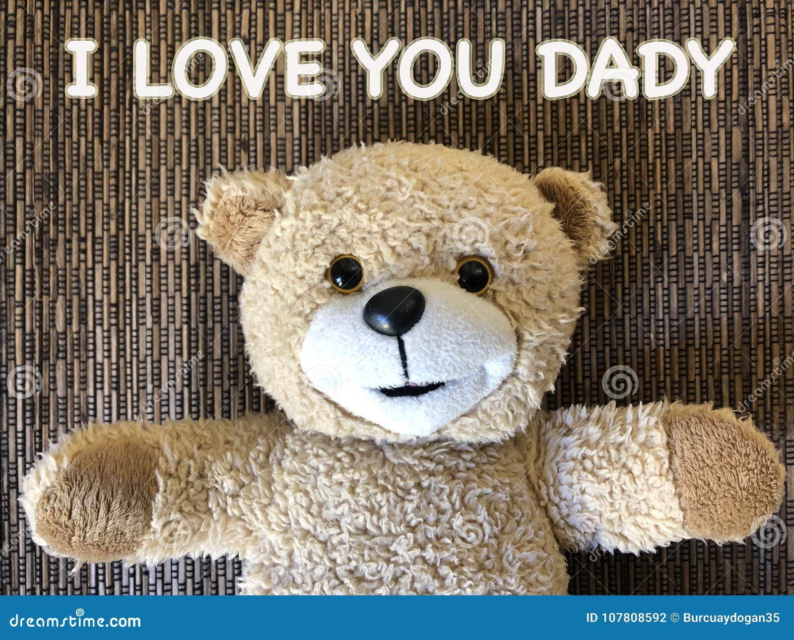 Het bericht dat ik van U DADY door leuke teddybeer HOUD