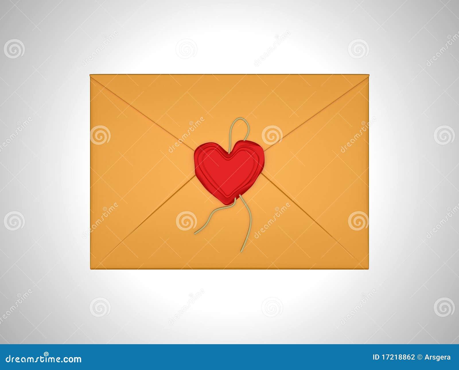 Het bericht van de liefde - brief die met rood zegelwas wordt verzegeld