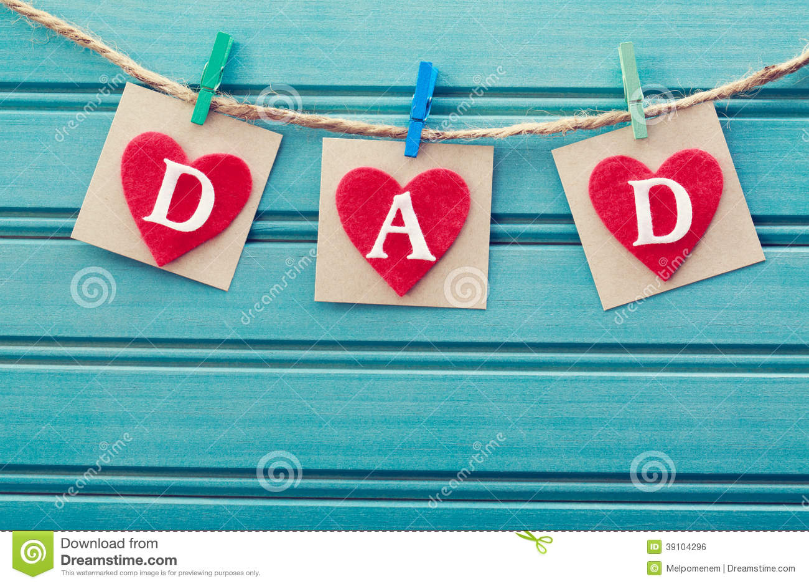 Het bericht van de vadersdag op gevoelde harten