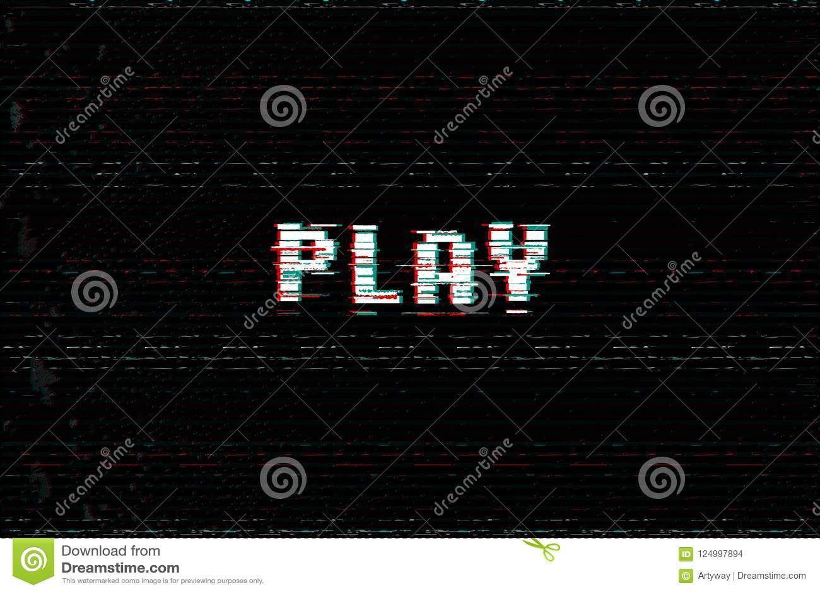 Het bericht van het videospelletjespel, 3D glitch, vhs vervormt effect tekst, begint de arcade met vectorillustratie