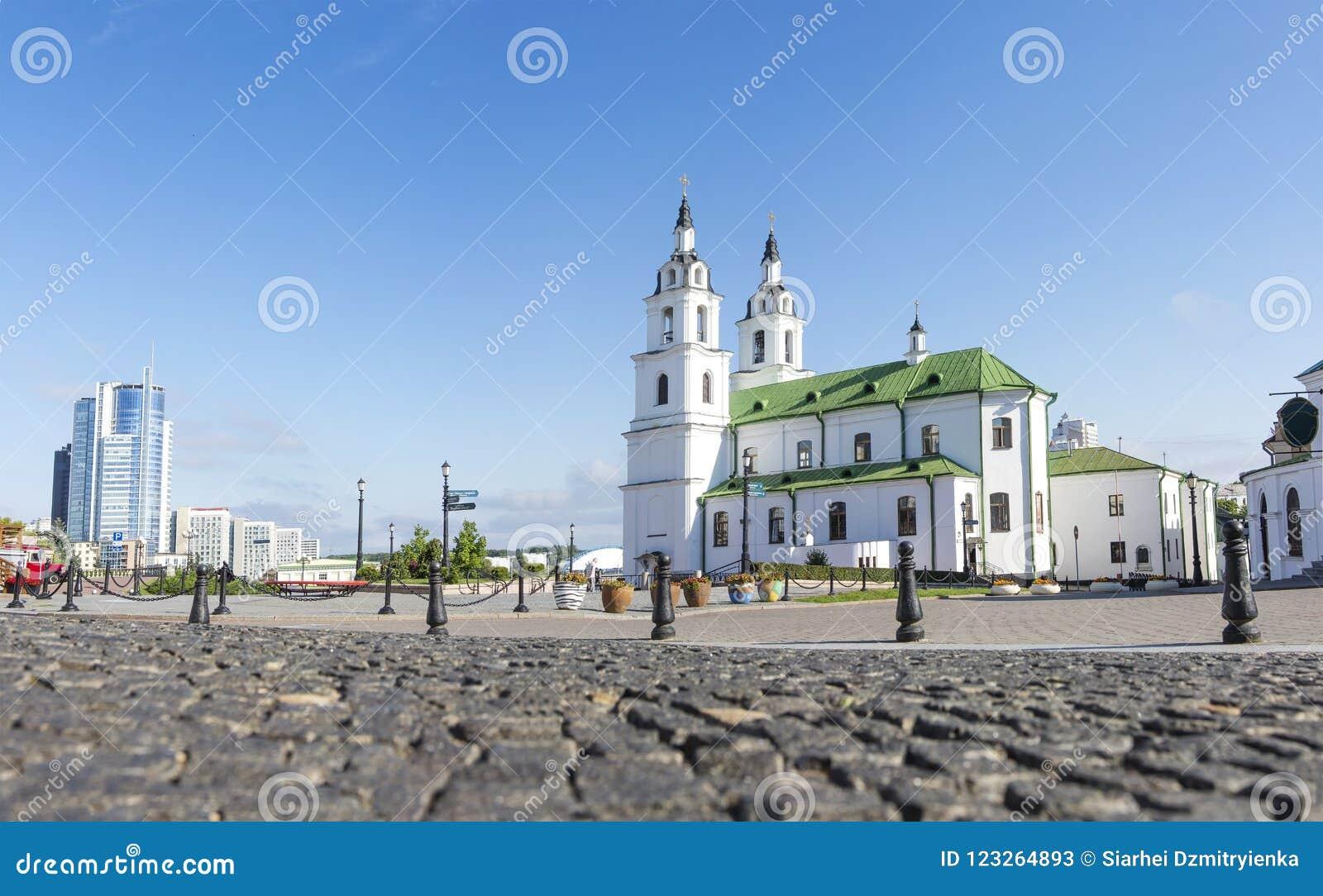 Het Beroemde Oriëntatiepunt van Minsk Kathedraal van Heilige Geest in Minsk Orthodoxe kerk van Wit-Rusland en symbool van Kapitaa