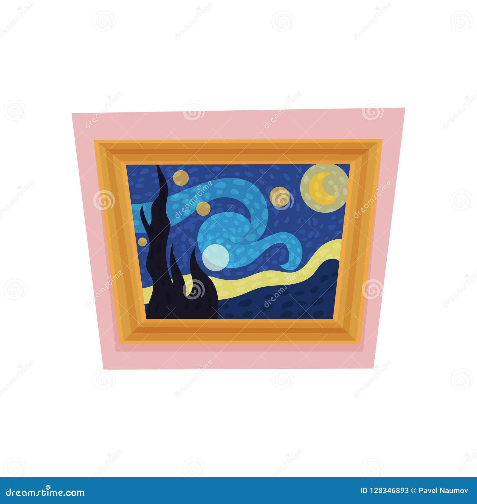 Het beroemde schilderen van sterrige nacht door Vincent van Gogh Museumtentoongesteld voorwerp Kunstgaleriethema Vlakke vector vo