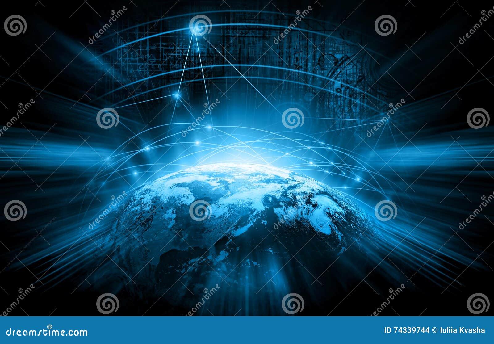Het beste Concept van Internet globale zaken technologische achtergrond Stralensymbolen WiFi, van Internet, televisie