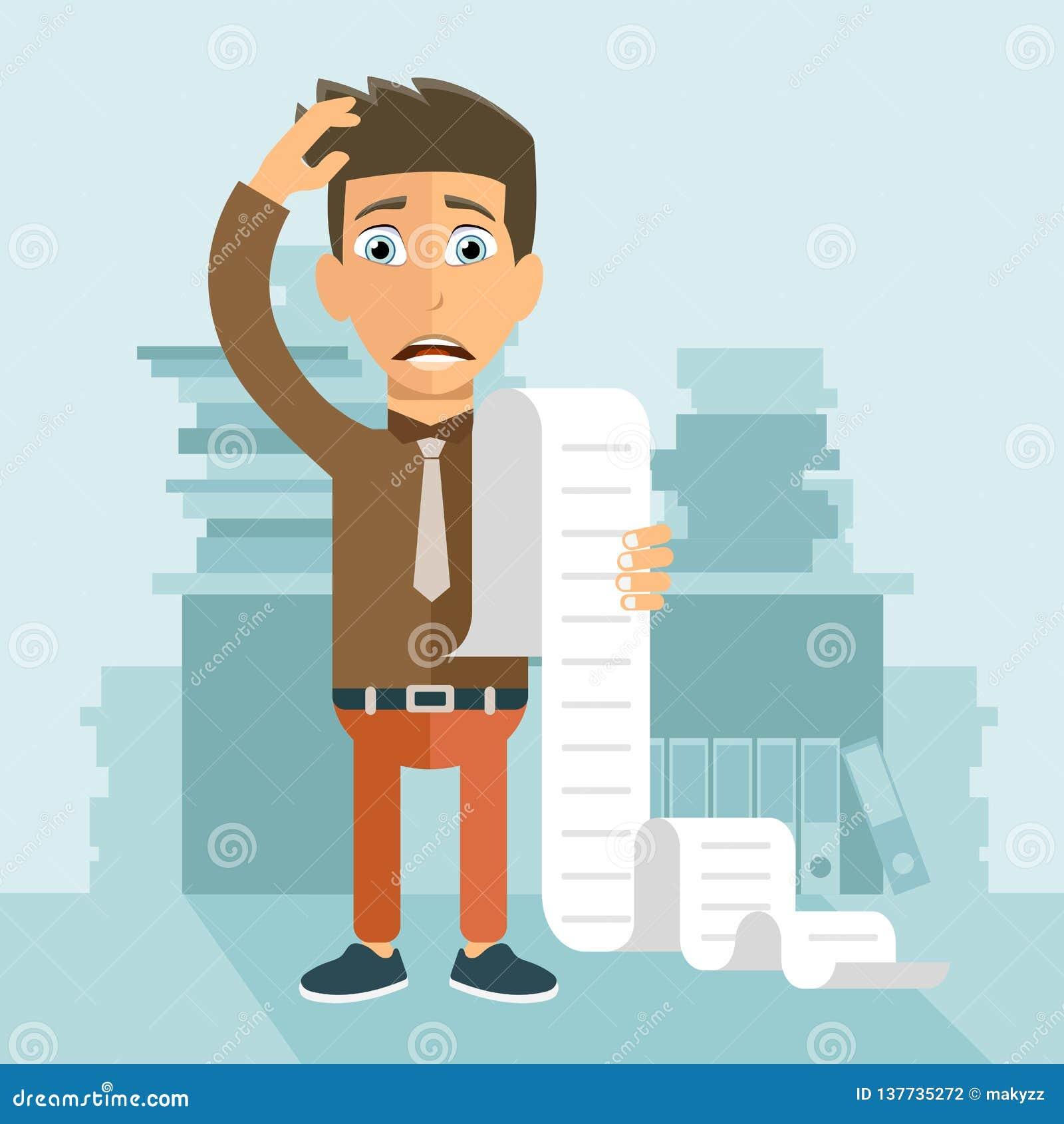 Het betalen van rekeningen en belastingenconcept Mens over zijn rekeningen ongerust die wordt gemaakt die Vlakke vector