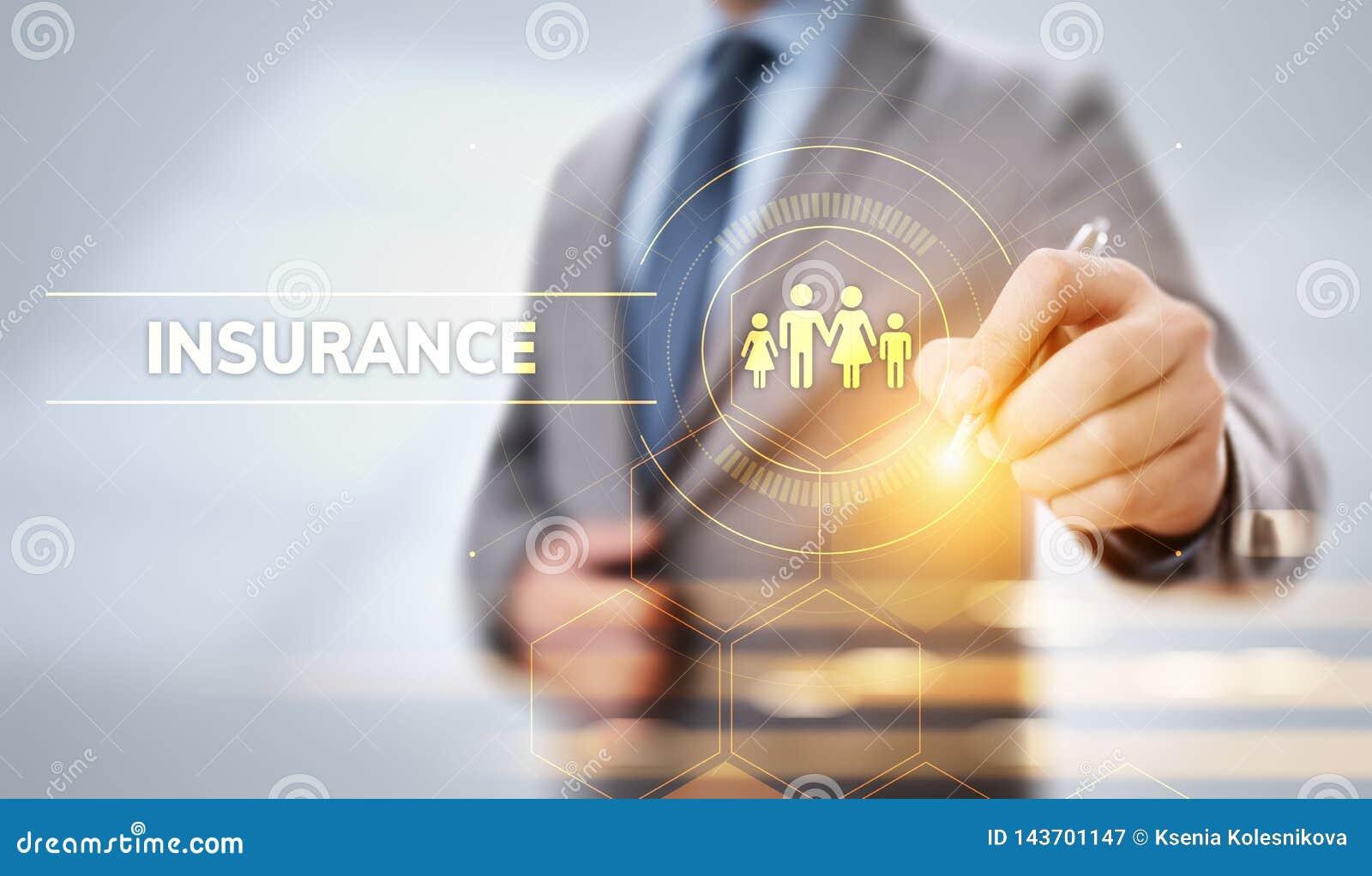 Het bezits van de bedrijfs verzekeringsfamilie reisgeld Zaken die virtuele knoop drukken