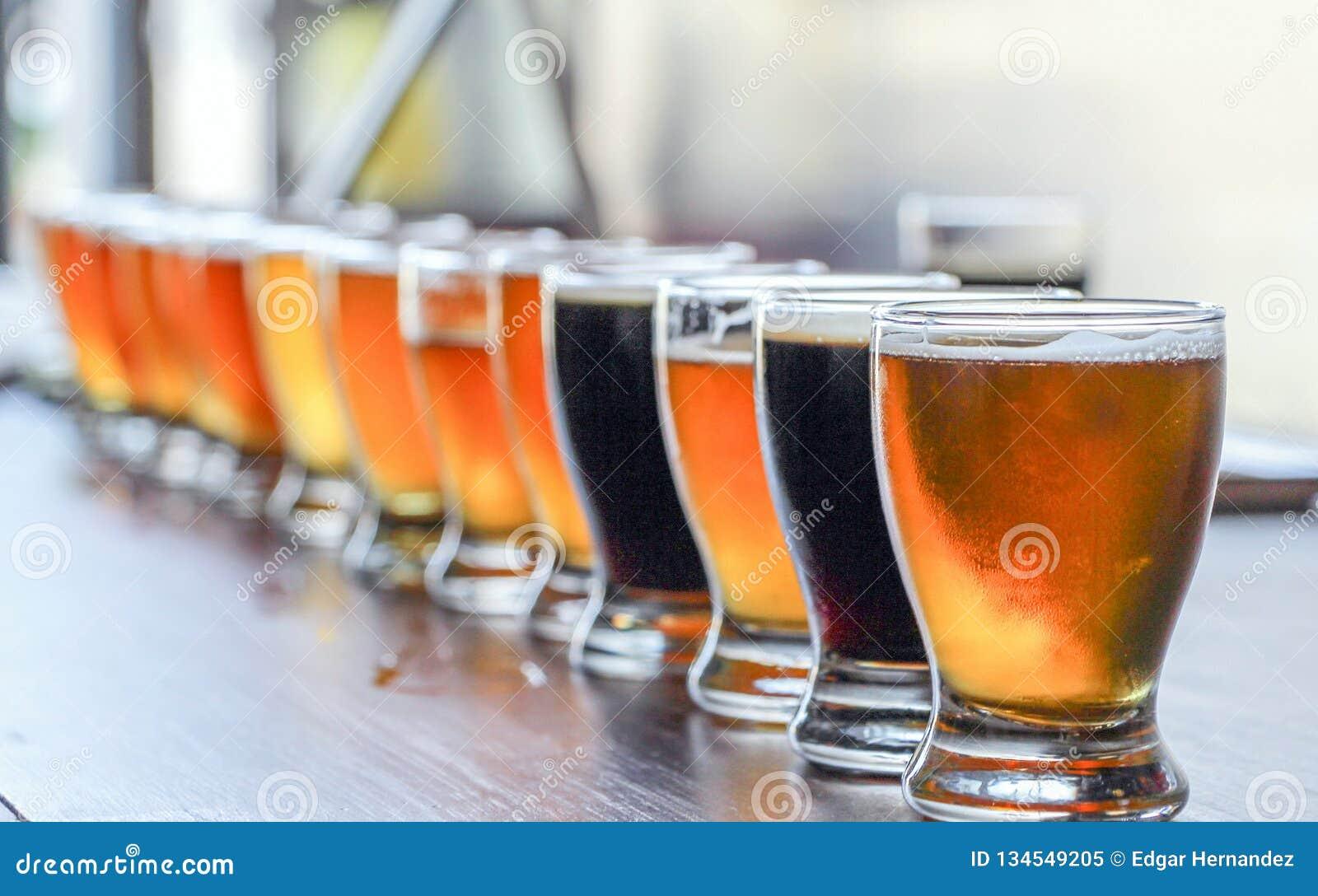 Het Bier van de Microbreweryambacht het Proeven Vlucht