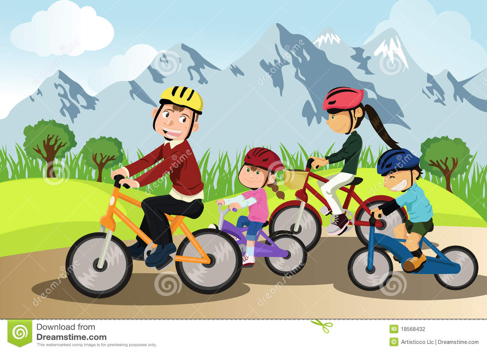 Het biking van de familie