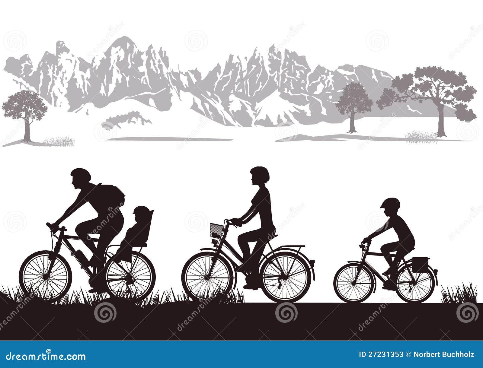 Het biking van de familie in platteland