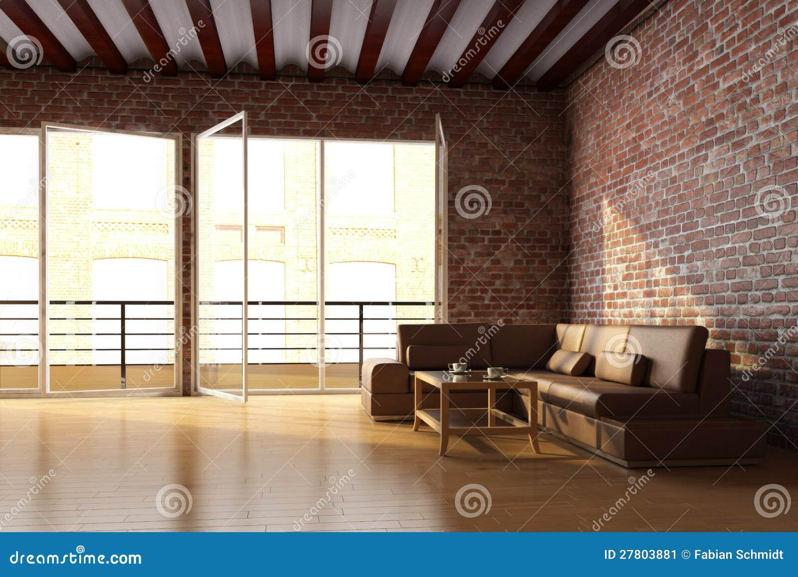 Het Binnenland Van De Zolder Met Bakstenen Muur Stock Afbeelding ...