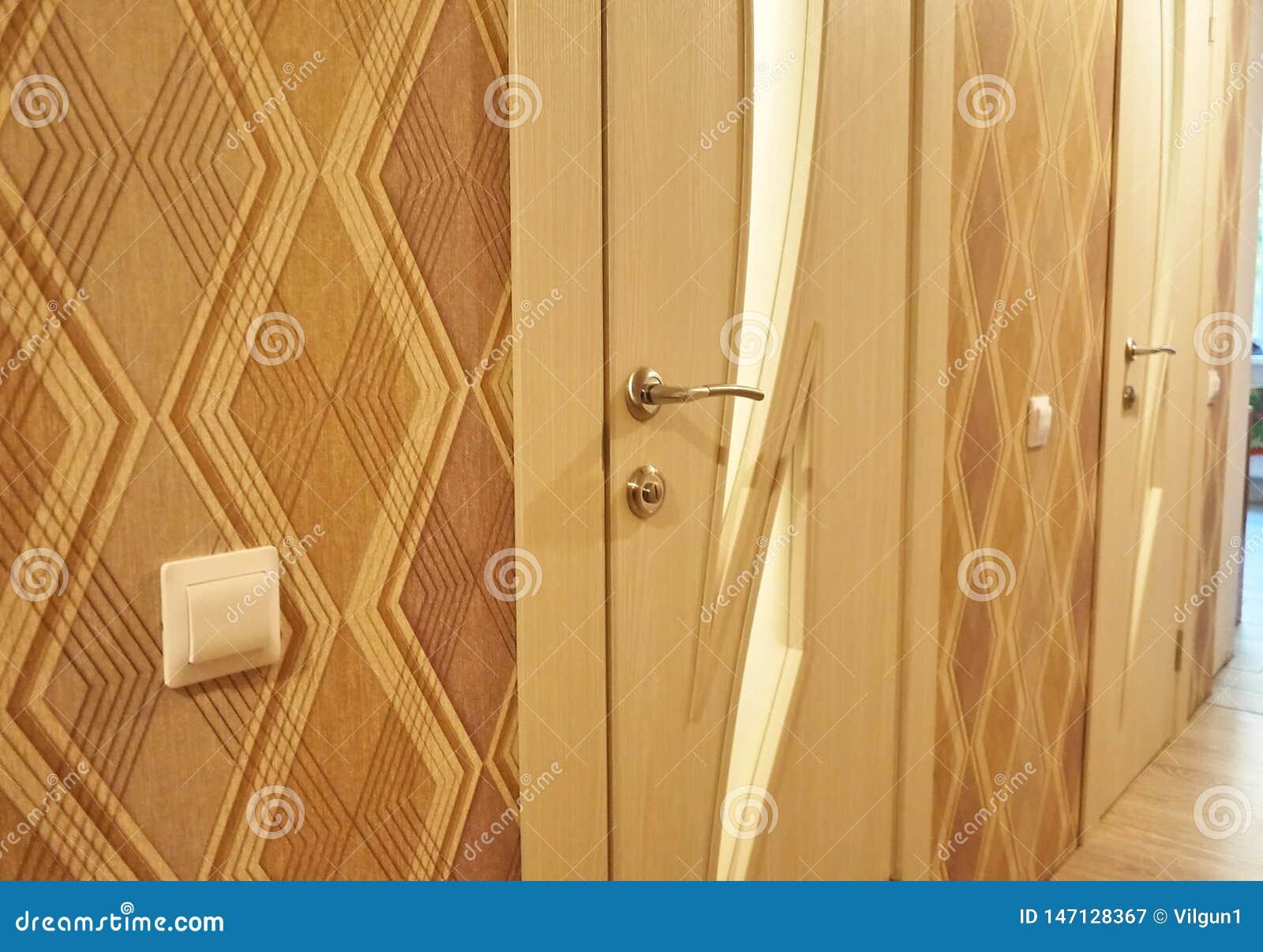 Het binnenland van een ruimte met een nieuw binnenland wordt ge?nstalleerd dat Deur De ge?nstalleerde deur vult eensgezind het bi