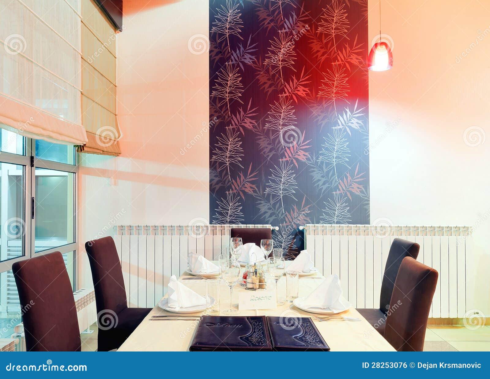 Het binnenland van het restaurant stock foto afbeelding