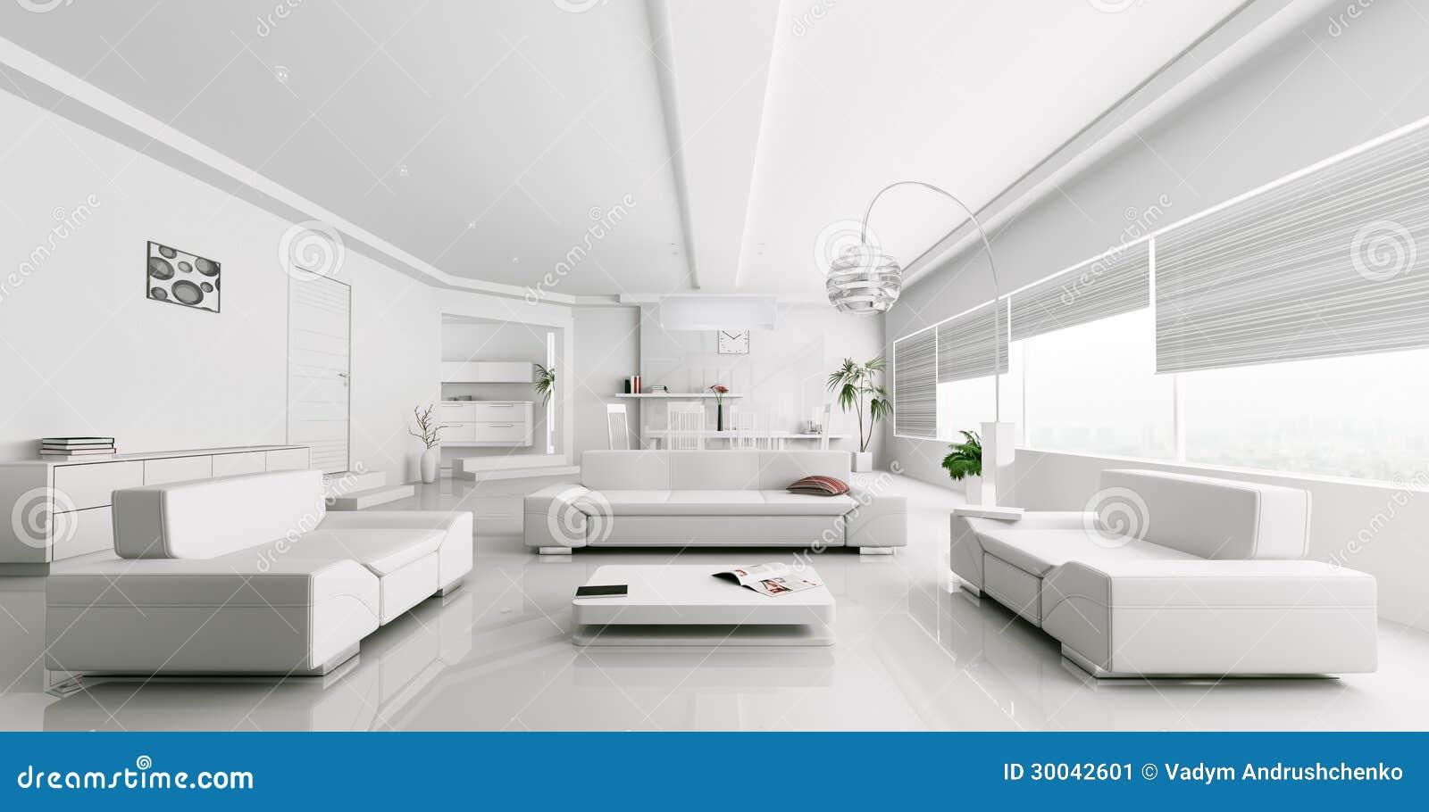Binnenland van het moderne witte woonkamer teruggeven