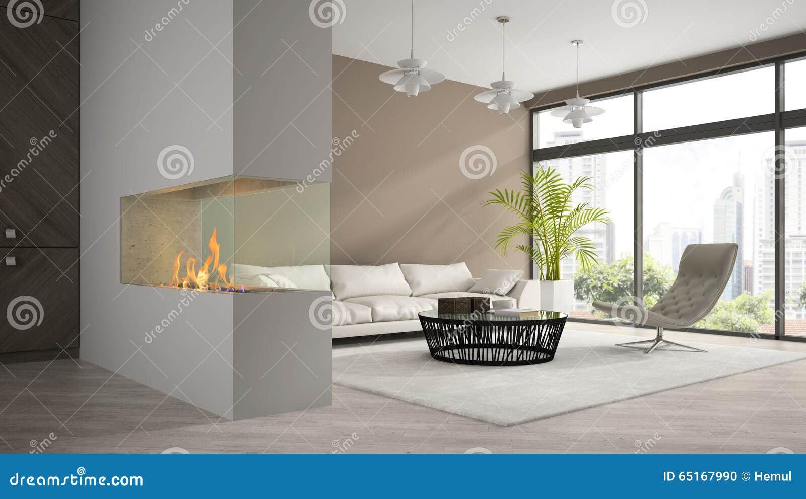 Het binnenland van moderne zolder met open haard en de witte d