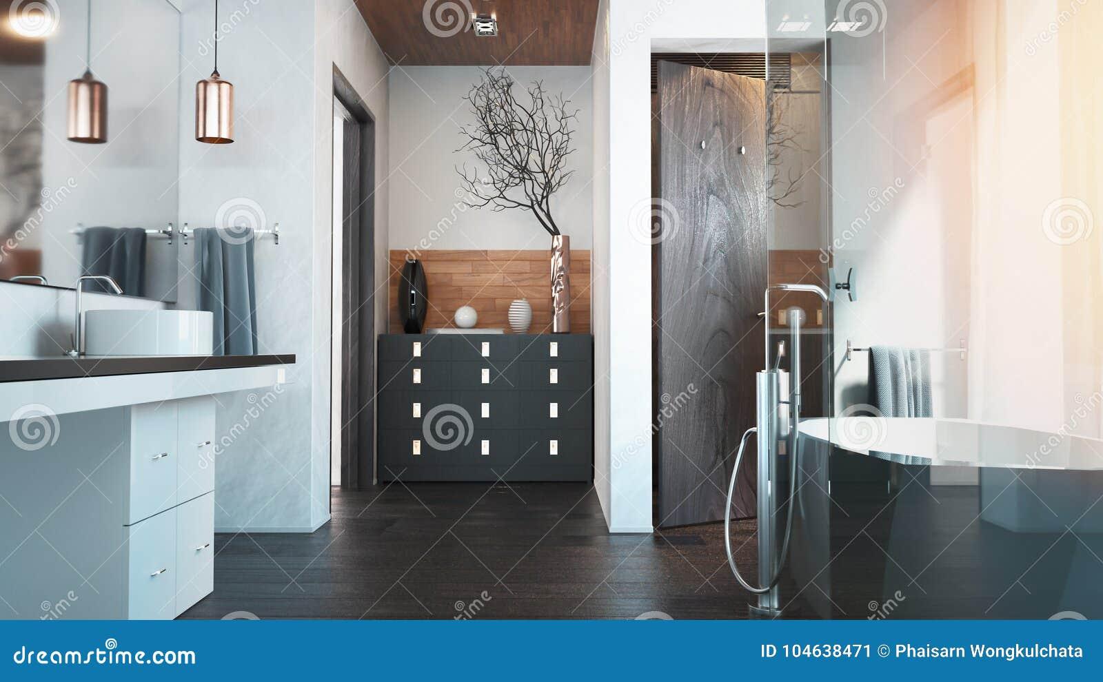 Download Het Binnenland Voor De Badkamers Stock Illustratie - Illustratie bestaande uit flat, eigentijds: 104638471