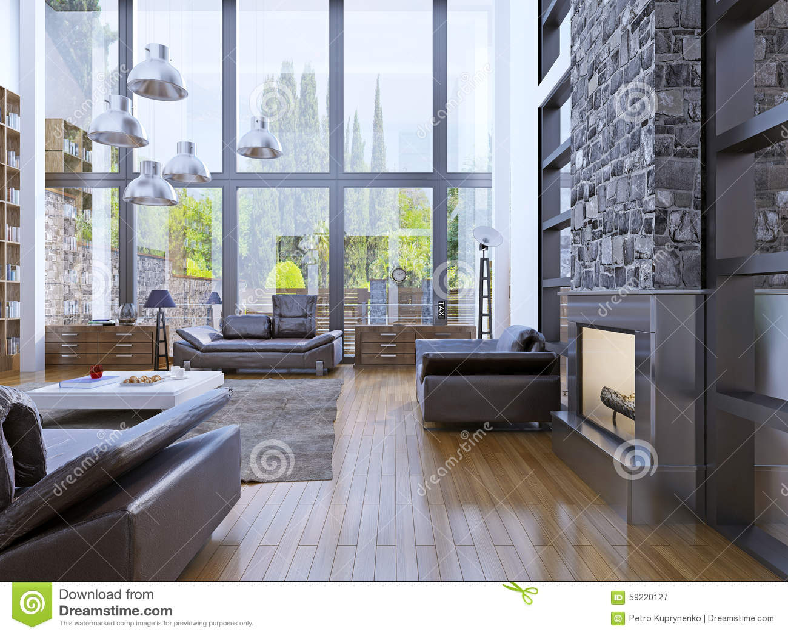 Het binnenlandse ontwerp van de zolderflat met panoramisch vensterbinnenland