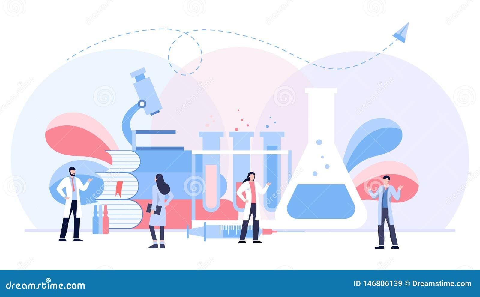 Het biologische concept van de laboratorium vectorillustratie, scientis die bij laboratorium, vector geïsoleerde malplaatjeachter
